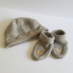 Other - Hat & Knitted Embroidered Booties Grey Siz…